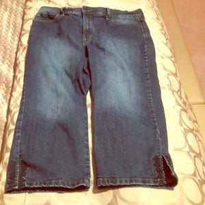 NYDJ cropped embellished jeans